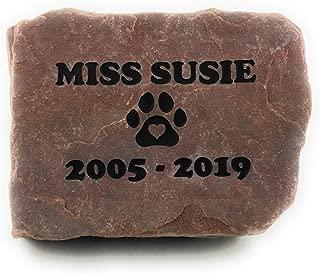 GraphicRocks Sandblast Engraved Red Stone Pet Memorial Headstone Grave Marker Dog Cat npp