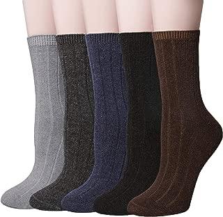 5 Pairs Womens Winter Wool Socks Thick Knit Warm Causal Crew Socks