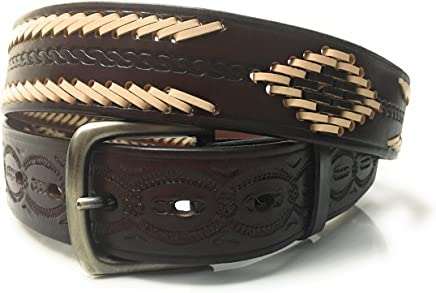 Mens Brown Western Leather Belt. Hand Tooled and Laced. Casual Work Belt