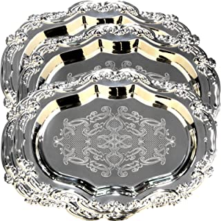 Maro Megastore (Pack of 4 16.9-Inch x 11.8-Inch Floral Shape Antique Decorative Style Mirrored Tray Wedding Birthday Buffet Party Dessert Food Art Decor Party Wine Platter Plate 1723 M Ts-040
