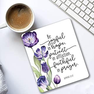 Be joyful in hope Romans 12:12 Bible verse quote Mouse pad purple tulips Christian gifts for women