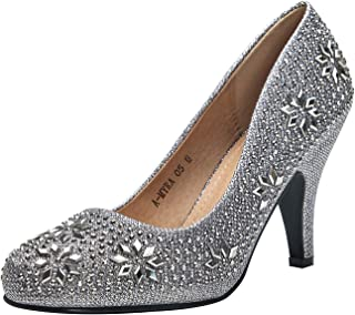 LAROSA ROSE (L-MAYR05 Princess Sparkle Crystal Gem Rhinestone Glitter Formal Pumps, Wedding Shoes Evening Dress Heels for Women