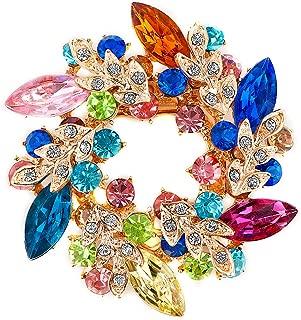 LuckyJewelry Fancy Vintage Rhinestone Crystal Flower Brooch Bouquet Pins for Sale
