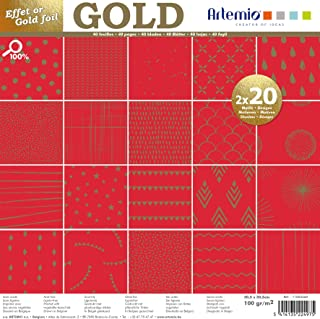 Artemio Set papiers 40 pages OR Rouge Foil – 30x30 cm,