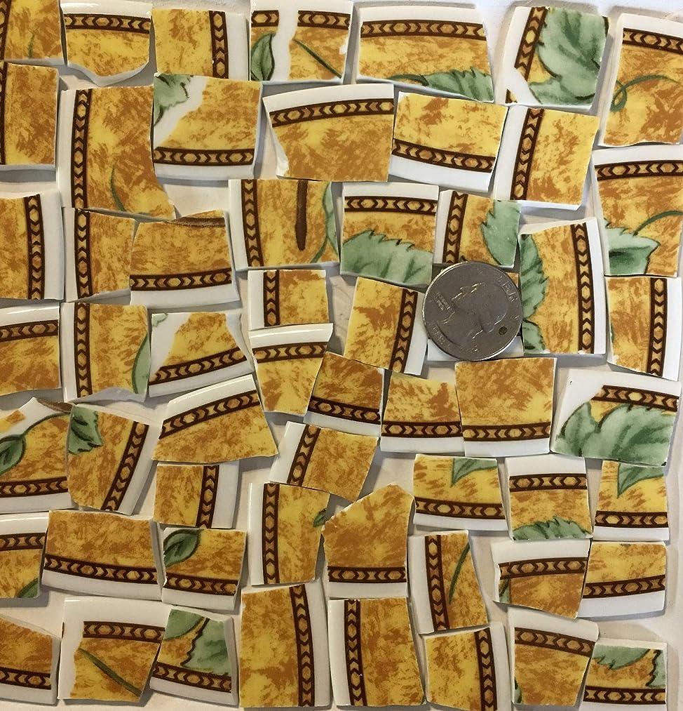 Mosaic Art & Crafts Supply ~ Brown & Yellow Fruit China Rim Tiles (B378)