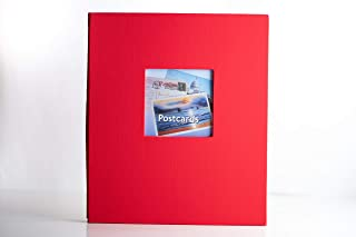 Hobbymaster Fabrique Postcard Collecting Album, Vibrant Red, 8 1/2 x 11 Post Bound Album