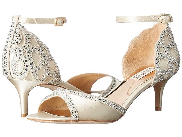 Vintage Wedding Shoes, Flats, Boots, Heels Badgley Mischka Gillian Ivory SatinSuede Womens 1-2 inch heel Shoes $202.50 AT vintagedancer.com