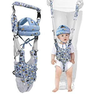 Baby Walking Harness and Safety Helmet - Protective Accessories Against Falls During Early Walking Activity for Infants-Comfortable Fabric and Adjustable Design-Unisex Pattern Standing Walker-Helper
