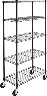 Amazon Basics 5-Shelf Shelving Storage Unit on 4'' Wheel Casters, Metal Organizer Wire Rack, Black (30L x 14W x 64.75H)