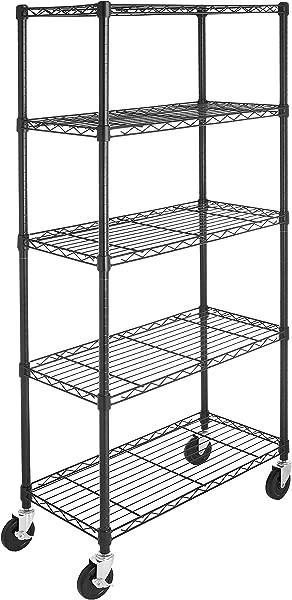 AmazonBasics 5 Shelf Shelving Storage Unit On 4 Wheel Casters Metal Organizer Wire Rack Black