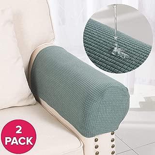 Larvinhom Armrest Covers Anti-Slip Waterproof Furniture Protector Armchair Slipcovers for Recliner Sofa Set of 2(Sage)