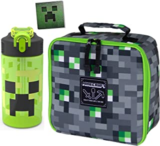 Minecraft Tap Green Mini Adventure Kit Collectible Character Creeper Face 8-bit Sticker / Lunch School Bag & Redstone Ore Light Up Cube Bundle