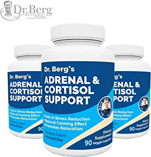 Dr. Berg's Adrenal & Cortisol Support Supplement - Natural Stress & Anxiety Relief for a Better Mood, Focus and Relaxation; Turn Off Your Busy Mind, Vegetarian Ingredients : 90 Capsules (3 Pack)