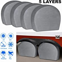 NicoMoO Tire Covers for RV Wheel Set of 4 Extra Thick 5-ply Motorhome Wheel Covers, Waterproof UV Coating Tire Protectors for Trailer Truck Camper Auto (26.75