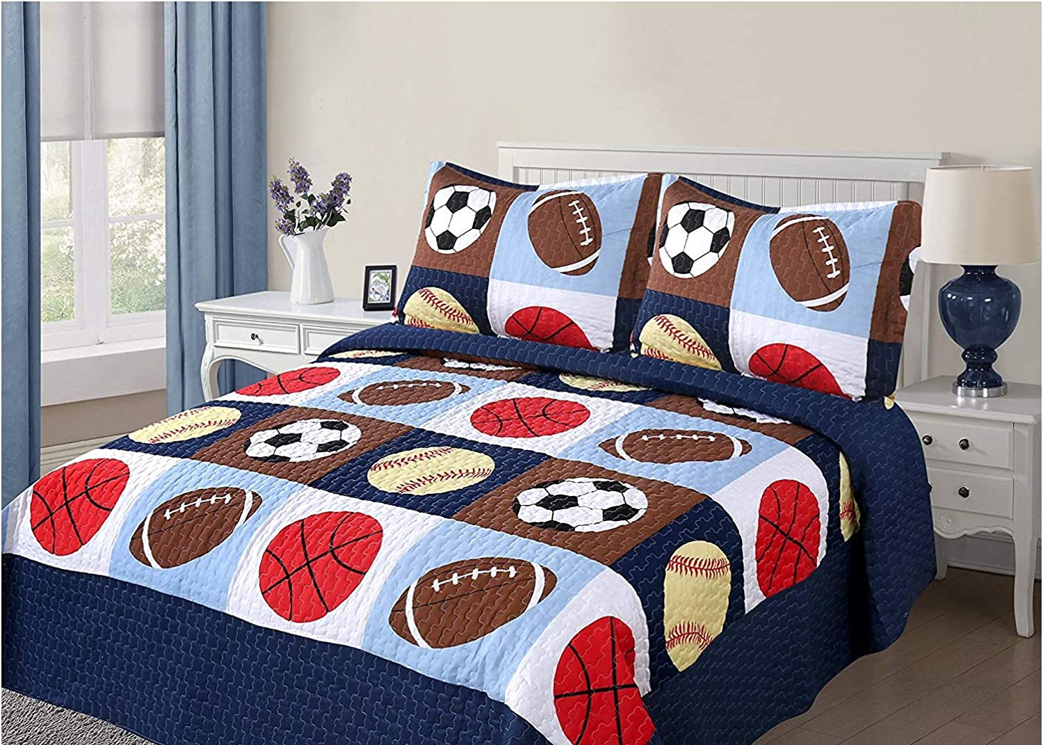 Golden Linens 3 Pieces Full Size Quilt Ranking TOP18 Sports Los Angeles Mall Bedspread Set Kids