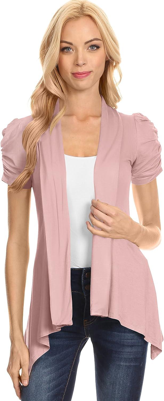 Simlu Open Front Cardigans for Women Ruched Short Sleeve Flyaway Cardigan - USA
