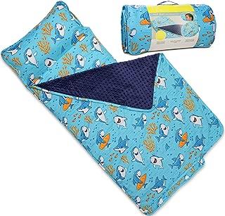 Kids Nap Mat with Removable Pillow - Soft, Lightweight Mats, Easy Clean Toddler Nap Pad for Preschool, Daycare, Kindergarten - Children Sleeping Bag (Blue with Shark Design) by Bambino Bliss