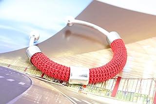Bracciale rigido in cotone rosso lavorato crochet - Matitie
