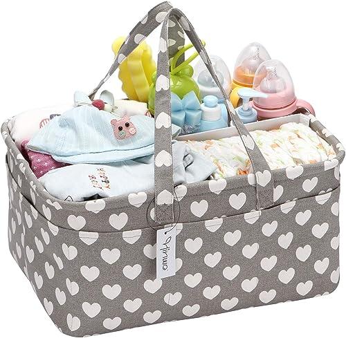 Hinwo Panier à couches pour bébé 3 compartiments avec séparateur amovible et 18 poches invisibles pour couches et lin...