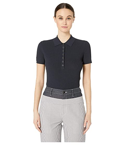 GREY Jason Wu Knit Ribs Mix Collared Short Sleeve Sweater