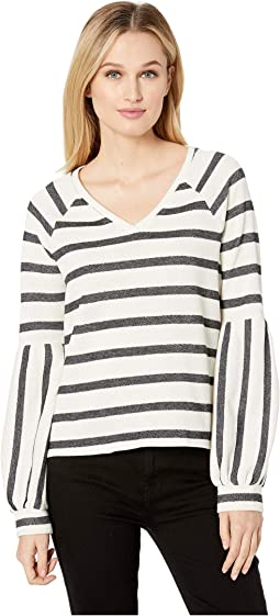 Wide Stripe Knit Bubble Sleeve V-Neck Top