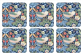 Morris & Co for Pimpernel Strawberry Thief Collection Blue Coasters - Set of 6