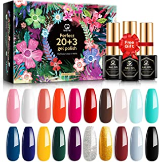 MEFA 23 Pcs Gel Nail Polish Set with Nice Box, Soak Off Nail Gel Collection with Glossy and Matte Top Coat Base Coat Manic...