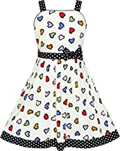 Sunny Fashion Girls Dress Sleeveless Flower Pattern Bow Tie Striped Trim Vestido para Niños