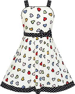 Sunny Fashion Ragazze Rosa Cuore Stampato Cravatta a Farfalla Festa Sundress Abbigliamento per Bambini 4-12 Anni