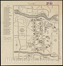 Historic Pictoric Map, 1905 Cornell University campus, Vintage Wall Art : 44in x 44in