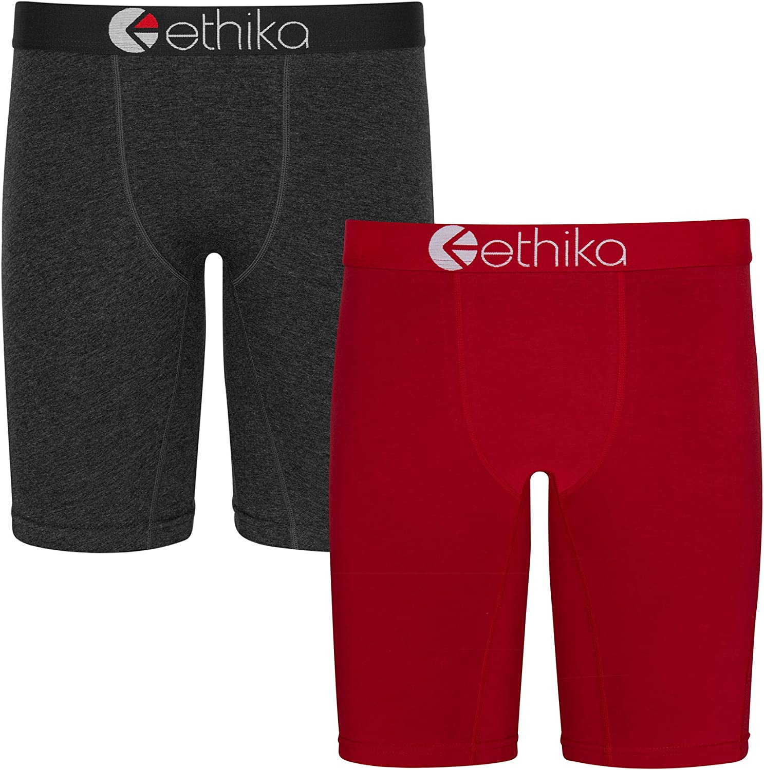 Ethika Mens Staple Boxer Briefs | 2-Pack Heather and Red