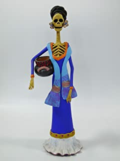 TRADITIONAL clay CATRINA with pitcher, mexican folk art, day of the dead 15