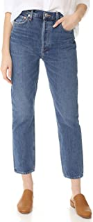 AGOLDE Women's Riley High Rise Straight Crop Jeans Blue