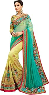 heavy embroidered saree indian style with blouse material for woman