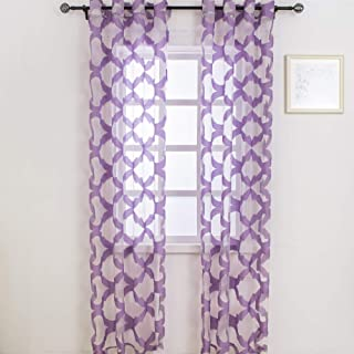 Sheer Curtains Semi Sheer Curtains for Bedroom and Windows Jacquard Sheer Curtain 2 Panels (Purple, 52