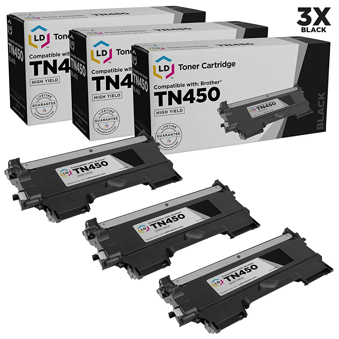 LD ? Compatible with Brother Set of 3 TN450 High Yield Toner Cartridges for DCP-7060D, DCP-7065DN, HL-2130, HL-2132, HL2230, HL-2240, HL2240D, HL-2242D, HL-2250DN, HL-2270DW, HL-2280DW, Intellifax 2840, Intellifax 2940, MFC-7240, MFC7360N, MFC-7460DN and MFC-7860DW Printers