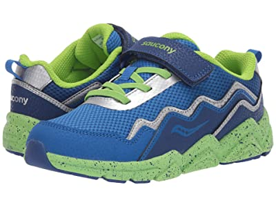Saucony Kids S-Flash A/C 2.0 (Little Kid/Big Kid) (Blue/Green Leather/Mesh) Boys Shoes