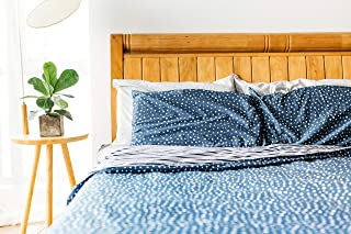 Simple Being Duvet Cover with Matching Pillow Cases, for Weighted Blanket, 400 Thread Count Ultra Premium Cotton, for 80x87 Heavy Blanket, 8 Ties, Zip - Blue Triangle King (Duvet Cover Only)