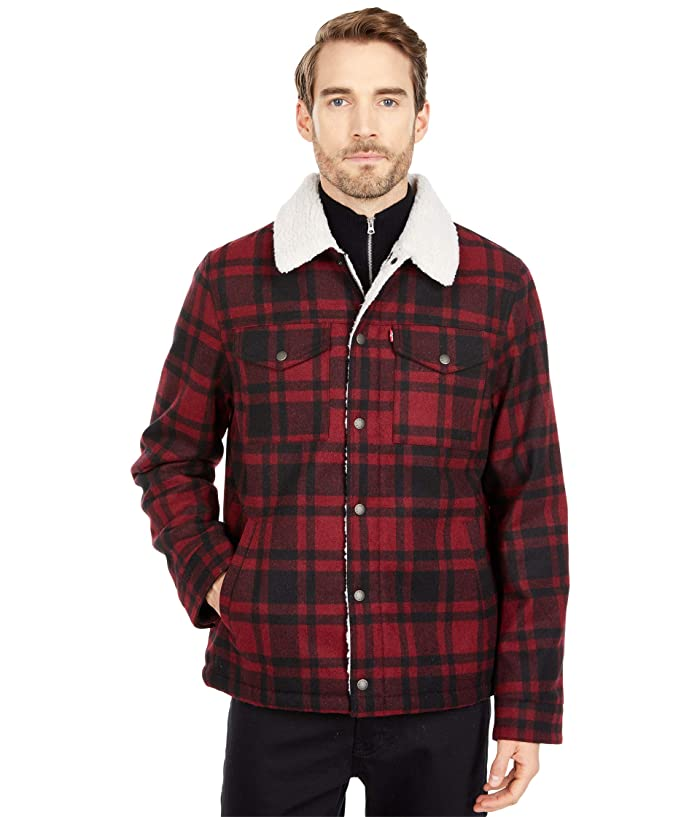 50s Men's Jackets | Greaser Jackets, Leather, Bomber, Gabardine Levisr Wool Blend Trucker Jacket w Sherpa Lining Red Plaid Mens Clothing $125.99 AT vintagedancer.com