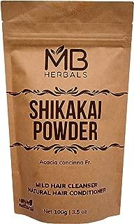 MB Herbals Pure Shikakai Powder 100g/3.5 Oz - 100% Pure Acacia concinna Fruit Pods Powder - Natural Hair Cleanser & Conditioner