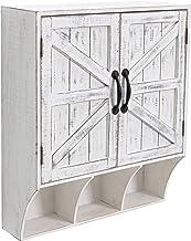 HAWOO خزانة تخزين جدار مزرعة ، خزانة الحمام تعلق على الحائط مع أبواب وأرفف مغناطيسية، خزائن جدار فوق المرحاض، أبيض ريفي