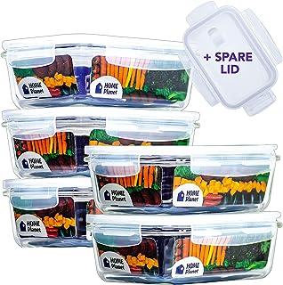 Home Planet Recipient en Verre | Boîtes Alimentaires en Verre | Lot de 5 840 ML | 97% d'emballages en Plastique enlevés | ...