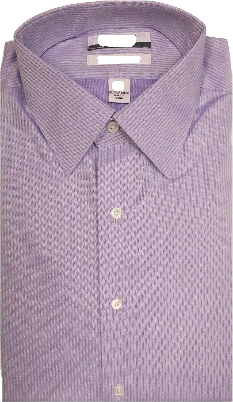 Cremieux Non Iron Slim Fit Point Collar Vertical Striped Dress Shirt S85DH121 Purple