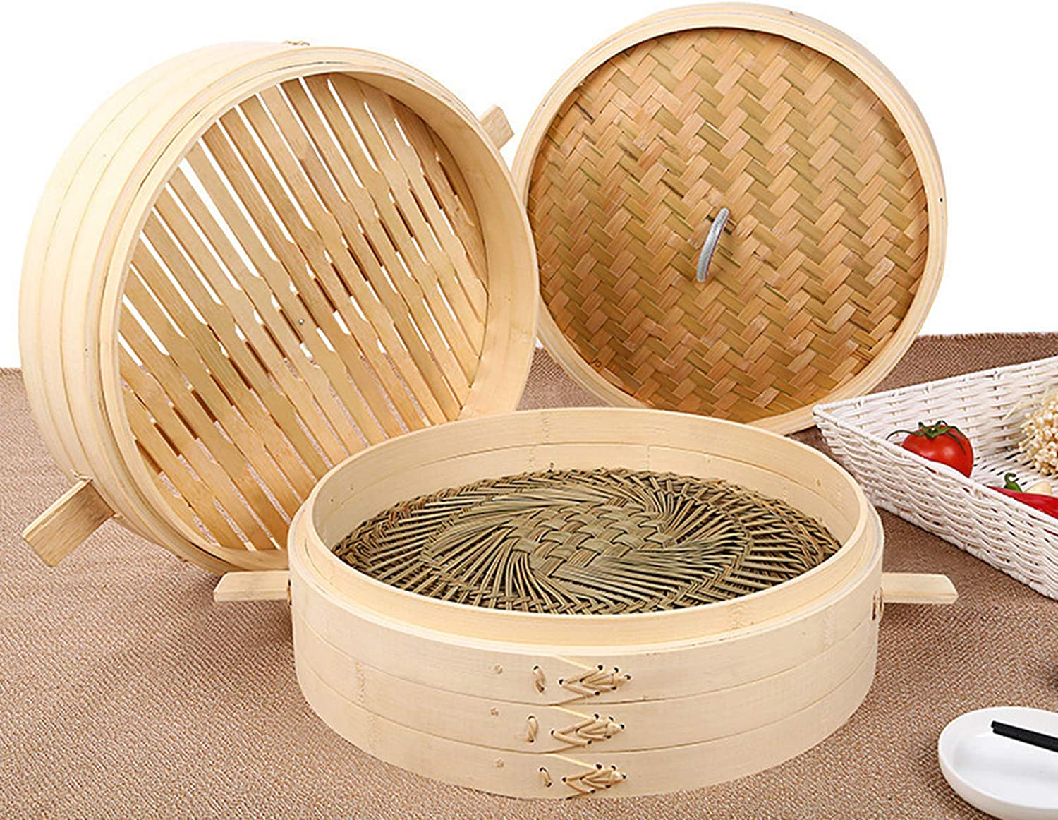 Super Special SALE held Bamboo Steamer Basket Set Chinese Lid Free shipping on posting reviews with Steamers Cookw Food