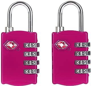 Candado para maleta Rosa aprobado por la TSA (2 piezas) / Set de dos candados para viajar/ crea tu propia combinación, perfecto para lockers del gimnasio, escuelas, maletines, equipaje, caja de herramientas y más!