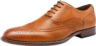 VOSTEY Men's Dress Shoes Classic Wingtip Brogue Men Oxfords