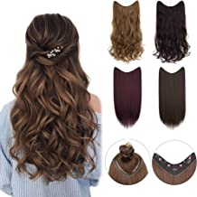 XBwig Thick V-shaped Hair Extension 4 Clip In On Synthetic Hairpiece Straight Wavy Curly V Part Extensions 22