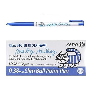 Xeno 0.38mm Slim Ballpoint Pen Shinzi Monpeluche to Baby Mikey Lisa 12 Pack (Blue 12 Pack)