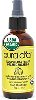 PURA D'OR Organic Moroccan Argan Oil (4oz / 118mL) USDA Certified 100% Pure Cold Pressed Virgin Premium Grade Moisturizer ...
