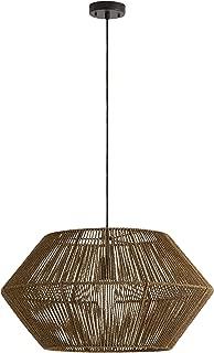 Rivet Rustic Natural Material Construction Pendant Light with Bulb, 60